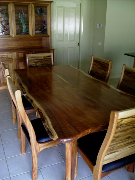Blackwood Slab Dining Table With Sasafrass Chairs Matching Kitchen Cabinet